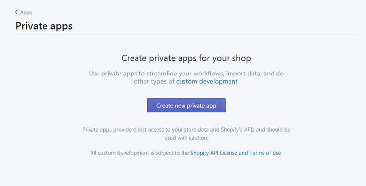 Shopify create a new private app